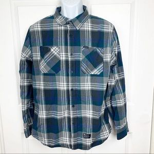 Matix Plaid Flannel Button Down Long Sleeve Shirt